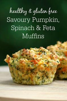 These savory pumpkin, spinach and feta muffins are healthy, gluten-free and easy to prepare. These savory pumpkin, spinach and feta muffins are healthy, gluten-free and easy to prepare. Clean Eating For Beginners, Clean Eating Recipes, Clean Eating Snacks, Healthy Eating, Eating Habits, Eating Raw, Clean Eating Muffins, Eating Well, Lunch Box Recipes