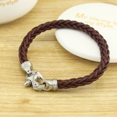 Brown leather bracelet - accurate clasp bracelet - Crafts clasp Woven leather bracelet - Father's Day gift - Gift for him - ETS-B415