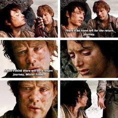The courage of hobbits - I think this is Sam's greatest moment - admitting there is no hope and then reaching his hand down to help Frodo up and they continue on. Go hobbits!
