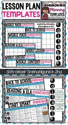 Editable Teacher Binder Lesson Plan Templates Lesson Plan - Create a lesson plan template
