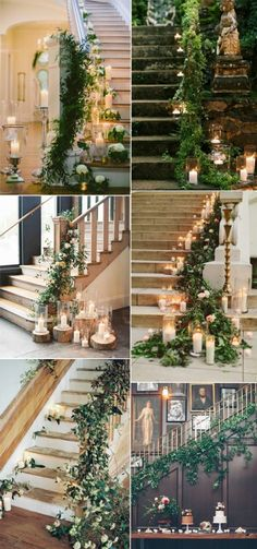 greenery wedding staircase decoration ideas 2017