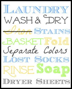Laundry Room Wall Art. Print and Frame. Instant Decor! Suchamom.com
