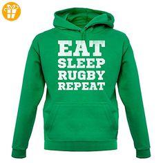 Eat Sleep Rugby Repeat - Unisex Hoodie/Kapuzenpullover - Leuchtend Grün - M (*Partner-Link)