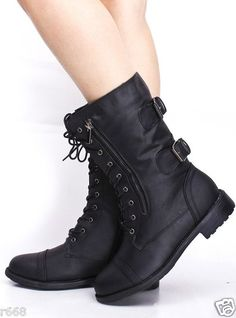 Lace Up Women's Black Faux Leather Combat Militatry Motorcycle Boot T1010A | eBay
