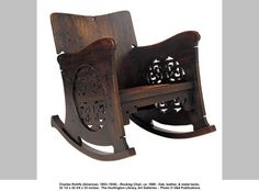 Charles Rohlfs (American, 1853–1936) - Rocking Chair, ca. 1899 - Oak, leather, & metal tacks; 32 1/2 x 24 3/4 x 33 inches