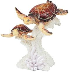 Brown Sea Turtles swimming on coral figurine/statue. Glossy finish on the turtles against the natural finish of the coral creates an interesting effect. Turtle Rock, Sea Turtle Art, Turtle Swimming, Baby Swimming, Sea Murals, Animal Decor, Tortoises, Disney Inspired, Sculptures