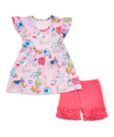 88f67b562008 Take a look at this Pink Barnyard Babydoll Top & Ruffle Pants - Infant,  Toddler & Girls today!