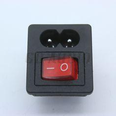 1 unid IEC320 C8 cable de alimentación de entrada receptáculo toma de corriente con ON-OFF Red Light Rocker Switch 250 V 2.5A para amplificador