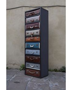 Suitcase drawers made of 10 vintage suitcase made by James Plumb for Salone 2011 at Galleria Rossana Orlandi