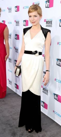 Wow.  Michelle Williams in a killer b/w color-blocked dress.
