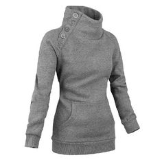 Long Sleeves High Neck Buttons Embellished Pockets Beam Waist Casual Women's SweatshirtSweatshirts & Hoodies | RoseGal.com