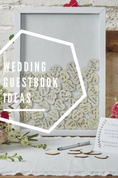 13 Gorgeous Wedding Guest Books You Can Pick Up Now! Guestbook Ideas, Wedding Guest Book, Wedding Inspiration, Weddings, Frame, Picture Frame, Mariage, Frames, Wedding