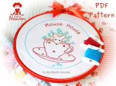 Mouse-House PDF Embroidery Pattern & Photo Tutorial Instructions, Easy