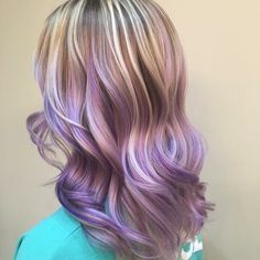 Ashe pale white blonde titanium purple lilac pastel balayage hand painted highlights short hair waves curls @hairbynickyz