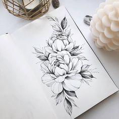 Tattoo studio in Mos Tatoo Flowers, Peonies Tattoo, Flower Tattoos, Butterfly Tattoos, Tattoo Sketches, Tattoo Drawings, Body Art Tattoos, New Tattoos, Skull Tattoos