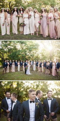 Boho pink mismatched bridesmaid dresses and navy groomsmen suits with black bow ties | Muse Photography