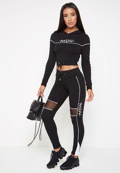 45f0536c Piped Contrast Mesh MDV Joggers - Black Электрик Цвет, Спортивная Одежда,  Черные Леггинсы,