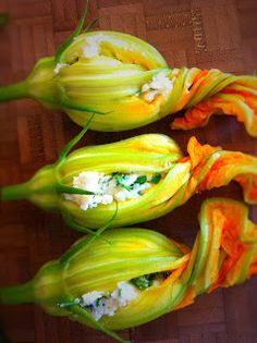 Mint Green Apron: Ricotta-filled Squash Blossoms-these came out great.  They'd be nice for a dinner party or special occasion.