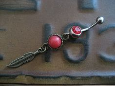 Belly Button Jewelry Navel Piercing Ring- Coral Red Bronze Feather Dream Catcher Dangle Charm Dreamctcher