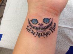 tatouage chat Alice au pays des merveilles- le chat Cheshire On est tous fous