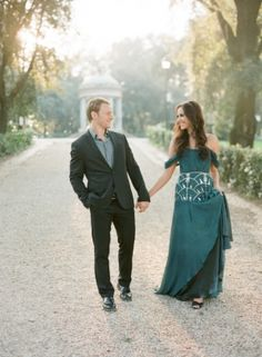 Engagement Session in Rome, add a beautiful  gown and suit to take it up a node
