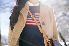 Ralph Lauren American Flag Sweater, Ralph Lauren White Oxford, J Crew Tortoise Shell Barette Hair Clip, Louis Vuitton Crossbody Purse, Brooks Brothers Camel Coat