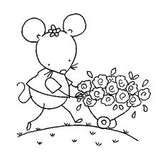 Embroidery Pattern Mouse In The House Digital Stamp 020 By Digistampcharacters On Etsy