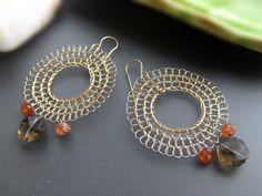 Oro Orecchini Chandelier - delicato filo cerchio, marrone e pietre arancio - Flamenco (grande formato)