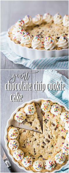 My family LOVES when I make this chocolate chip cookie cake! Everyone wants it for their birthday, it's so soft and gooey and chocolate-y! #chocolatechipcookiecake #chocolatechip #cookie #cake #easy #recipe #birthday #giant #decorated #homemade #best #icing #frosting #chewy #tollhouse #skillet #pizza #big #soft #deepdish #simple #gooey #ultimate #deliciousfood via @bakingamoment