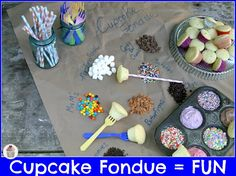 I'm lovin the sprinkles in the tin! Great idea for crafts too!  Cupcake-Fondue.  HoosierHomemade.com