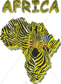 Vector zebra yellow and black stripes forming africa and zebra head on white vertical