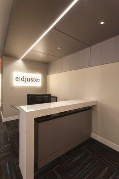 Small office design in Ottawa. #Design: Penny Southam #commerial #interiordesign #receptiondesk #desk #office #Tandus #carpettile #modern  #Photography: Urszula Muntean