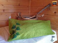 Saima-saunatyynyn päällinen pellava Koivunoksa Vihta n. 22x45 -b Itu, Design