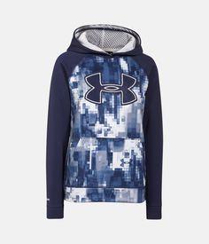 Boys' UA Storm Armour® Fleece Printed Big Logo Hoodie, BLUE KNIGHT, zoomed image