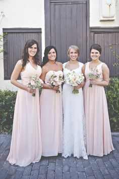 tulle and chantilly pretty long rose chiffon bridesmaid dresses styles 2015 #tulleandchantilly