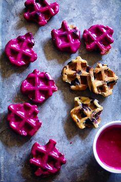 Blueberry Waffle Cookies | Bakers Royale Party Desserts, Just Desserts, Delicious Desserts, Yummy Food, Food Trucks, Cupcakes, Yummy Treats, Sweet Treats, Blueberry Waffles