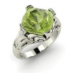 Peridot  Ring in 14k White Gold (1.76 ct.tw.) - Therese