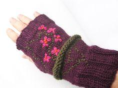 Knitted Fingerless gloves, Hand warmers, Handwarmers, Arm warmers, Embroidered Hand warmers, Purple, Floral by avivaschwarz on Etsy
