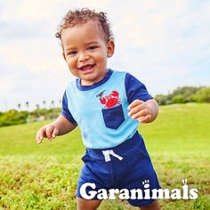 Dress him in pocket applique bodysuits and french terry shorts for an adorable boys springtime style look!