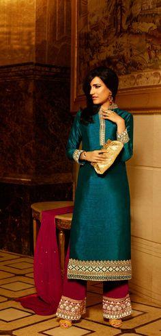 Green Embroided Silk Salwar Kameez