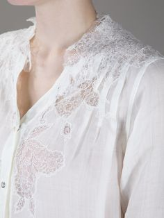 50251d539df Ermanno Scervino Oversized Lace Detail Shirt in White