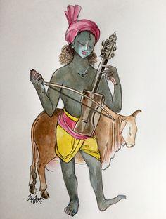 Aalaap: #watercolour #music #krishnafortoday