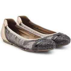 Hogan Leather Ballerinas (16.460 RUB) ❤ liked on Polyvore featuring shoes, flats, gold, flat shoes, sequin ballet flats, ballet shoes, black flat shoes and ballerina flats
