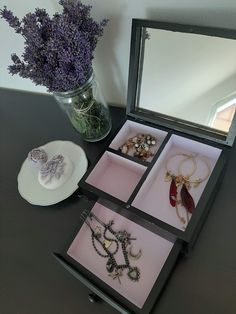 Black jewellery box with the mirror. Black Jewelry, Jewellery Box, Alcohol, Lovers, Group, Mirror, Business, Board, Rubbing Alcohol