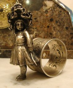 FRENCH CHRISTOFLE  NAPKIN  RING  WITH LITTLE GIRL ,  #Christofle