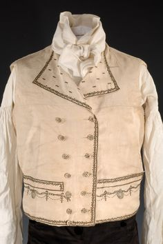 """Early 19th Century 3 Piece Suit According to our records, and family lore, this suit was worn by John M. Bowers (1772-1846) when he took possession of his new home """"Lakelands"""" in Cooperstown, New York, in 1805. Bowers might have also worn this suit during his 1802 wedding to Margaretta Stewart Wilson (?-1872). Lakelands still stands today commanding  a stunning view of Lake Otsego. Waistcoat, ca 1805, Silk"""