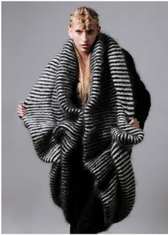 Sculptural Knitwear Design with stripes & soft volume; fashion as art // Charlotte Mullor FW11