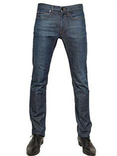 LANVIN - 19CM SLIM FIT WASHED DENIM JEANS - LUISAVIAROMA - LUXURY SHOPPING WORLDWIDE SHIPPING - FLORENCE