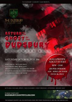 The Return of the Ghost of the Dudsbury - Halloween Adult Ball - The Dudsbury Country Club Halloween Ball, Halloween 2015, Halloween Fancy Dress, Adult Halloween, Spooky Woods, Random Acts, Halloween Decorations, Club, Country