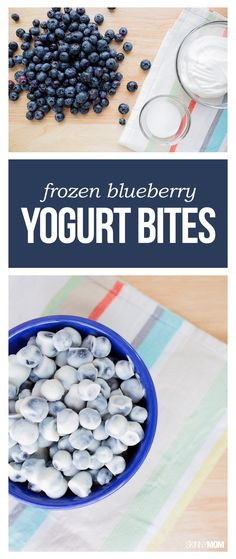 Healthy Snacks Frozen Blueberry Yogurt Bites- This snack can be your family's new favorite healthy dessert or sweet snack. At 38 calories and 1 WWP per 12 or 13 frozen berries, this will be your new go-to treat! Think Food, Love Food, Yogurt Bites, Fruit Yogurt, Coconut Yogurt, Greek Yogurt, Frozen Yogurt Dots, Vegan Yogurt, Snacks Saludables